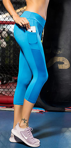 abordables -FORSINING Femme Poche Pantalon de yoga Des sports Maille Elasthanne Leggings 3/4 Pantacourt Bas Zumba Course / Running Fitness Grandes Tailles Tenues de Sport Respirable Séchage rapide Power Flex