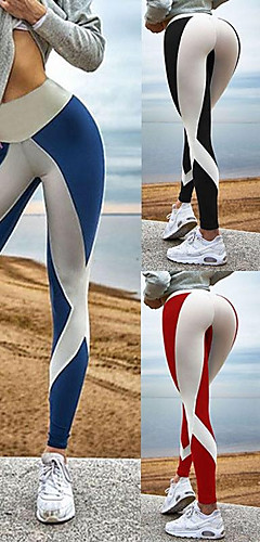 abordables -Femme Mosaïque Pantalon de yoga Des sports Bloc de Couleur Spandex Taille Haute Collants Leggings Zumba Danse Course / Running Tenues de Sport Respirable Compression Push Up Power Flex Elastique Slim