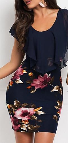 זול -מיני פרחוני שיפון דפוס, פרחוני - שמלה נדן רזה אלגנטית בגדי ריקוד נשים