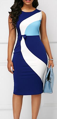 זול -עד הברך קולור בלוק - שמלה נדן רזה מידות גדולות עבודה בגדי ריקוד נשים