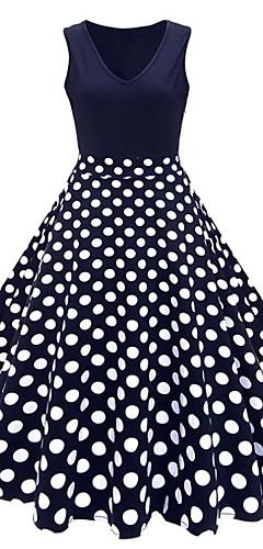 זול -צווארון V מידי דפוס, מנוקד פרחוני - שמלה גזרת A כותנה מידות גדולות וינטאג' שנות ה-50 בגדי ריקוד נשים