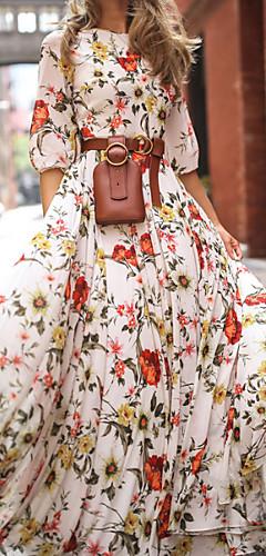 זול -מקסי דפוס, פרחוני - שמלה סווינג בגדי ריקוד נשים