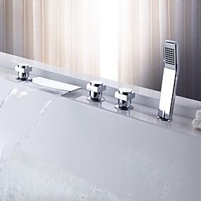 billige Sprinkle®-kraner-Moderne  with  Krom Tre Håndtak Fire Huller  ,  Trekk  for Foss Utbredt Trekk ut