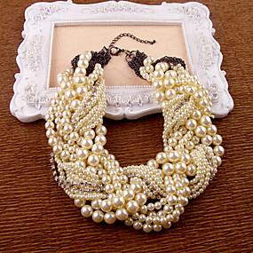 abordables Bijoux de Mariage-Collier de perles Femme Poire Imitation de perle Comme l'image Ivoire 35-45 cm Colliers Tendance Bijoux 1pc pour Soirée Anniversaire Cadeau Irrégulier