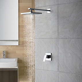 cheap Top Sellers-Shower Faucet - Contemporary Chrome Shower Only Ceramic Valve Bath Shower Mixer Taps / 18-21 / Yes / Rain Shower / Single Handle Two Holes