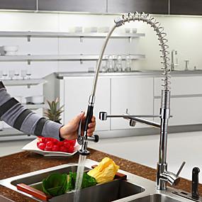 billige Uttrekkbar Spray-Kjøkken Kran - Et Hull Krom Uttrekkbar Vannrett Montering Moderne Kitchen Taps / Enkelt Håndtak Et Hull