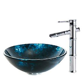 billige Frittstående vask-Baderomsvask / Baderomskran / Baderom Monteringsring Moderne - Herdet Glass Rund Vessel Sink