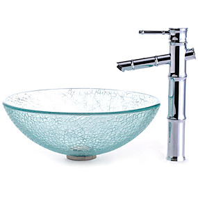 cheap Vessel Sinks-Contemporary Round Sink Material is Tempered Glass Bathroom Sink Bathroom Faucet Bathroom Mounting Ring Bathroom Water Drain