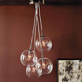 abordables Plafonniers-QINGMING® 4 lumières Grappe Lampe suspendue Lumière dirigée vers le bas Plaqué Métal Verre Style mini 110-120V / 220-240V Ampoule non incluse / E12 / E14 / VDE