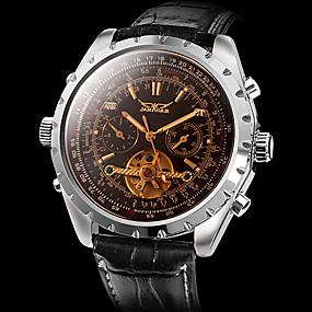 Pánské Náramkové hodinky Automatické natahování Kůže Černá Kalendář S dutým  gravírováním Analogové Přívěšky - Hnědá   Nerez fd4e98aed42