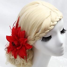 baratos Tiaras-Cristal / Pena / Tecido Tiaras / Pentes de cabelo / Flores com 1 Casamento / Ocasião Especial / Festa / Noite Capacete