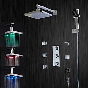 levne Vodovodní baterie-Sprchová baterie - Moderní Pochromovaný Sprchový systém Keramický ventil Bath Shower Mixer Taps / LED / Dešťová sprcha / Proud vody / Mosaz / Tři Rukojeti pěti jamkách