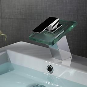 hesapli İndirim Musluklar-Banyo Lavabo Bataryası - Şelale / LED Krom Tek Gövdeli Tek Delik / Tek Kolu Bir DelikBath Taps / Pirinç