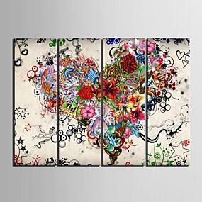 ieftine Artă Pereți-Imprimeu Imprimate în rulouri de pânză - Abstract Floral / Botanic Clasic Modern Patru Panouri Tablouri de artă