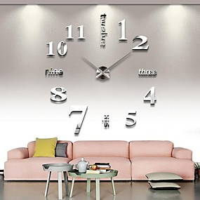 cheap DIY Wall Clocks-Frameless Large DIY Wall Clock, Modern 3D Wall Clock with Mirror Numbers Stickers for Home Office Decorations Gift (Silver)