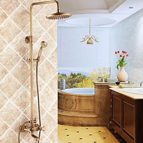 povoljno Slavine-Slavina za tuš - Tradicionalno Antique Brass Sustav za tuširanje Keramičke ventila Bath Shower Mixer Taps / Dvije ručke tri rupe