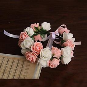 "baratos Flores-Bouquets de Noiva Buquê de Pulso Casamento Festa / Noite Cetim Papel 9.45""(Aprox.24cm)"