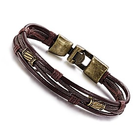 cheap 2019 Best Father's Day Sales-Men's Wrap Bracelet Leather Bracelet Rope Wrap Twisted Personalized Vintage Hip-Hop Leather Bracelet Jewelry Silver / Bronze For Daily Casual Sports / Titanium Steel