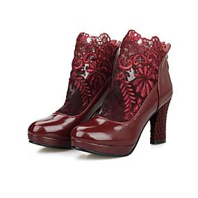voordelige Wijdere maten schoenen-Dames Laarzen Blokhak / Plateau Ronde Teen Rits / Combinatie PU Comfortabel / Modieuze laarzen Wandelen Lente / Herfst Wit / Zwart / Rood / Feesten & Uitgaan / EU39