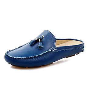 voordelige Wijdere maten schoenen-Heren Comfort schoenen Leer Lente / Zomer Klompen & Muiltjes Zwart / Wit / Blauw / Kwastje / Kwastje