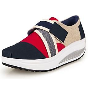 baratos Sapatos Esportivos Femininos-Mulheres Plataforma / Salto Plataforma Velcro Lona Sapatos de Berço Primavera / Verão / Outono Vermelho / Azul