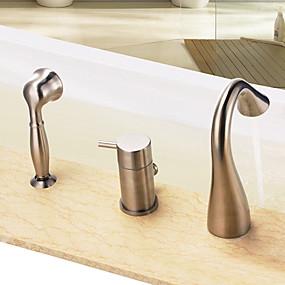 ieftine Cumpără după Cameră-Robinete de Vană - Contemporan Nichel lustruit Vană și Duș Valvă Ceramică Bath Shower Mixer Taps / Singur mâner trei găuri