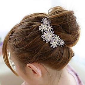 south korea high grade ornaments in combs hair clasp diamond pearl twist  purple flower 67faa19e0ed6