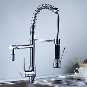 cheap Kitchen Faucets-Kitchen faucet - One Hole Chrome Pull-out / ­Pull-down Deck Mounted Contemporary Kitchen Taps / Single Handle One Hole