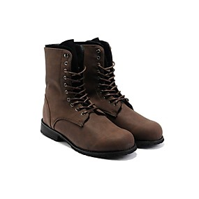 cheap Men's Boots-Men's Faux Leather Fall / Winter Comfort Boots 5.08-10.16 cm / Mid-Calf Boots Black / Brown
