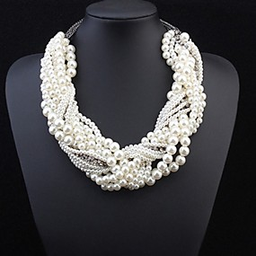 cheap Essential Accessorices For Every Ladies-Women's Pearl Statement Necklace Layered Twisted Statement Ladies Luxury Pearl Alloy White Necklace Jewelry For Wedding Party Special Occasion Cosplay Costumes