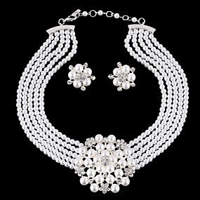 cheap Essential Accessorices For Every Ladies-Women's Jewelry Set Pearl, Rhinestone, Silver Plated Flower Ladies, Luxury, European, Fashion, Birthstones, Elegant Include White For Wedding Party Masquerade Engagement Party Prom Promise / Earrings
