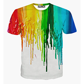 ราคาถูก Tendências de Verão 2019 – Para Eles-สำหรับผู้ชาย เสื้อเชิร์ต ซึ่งทำงานอยู่ Sport - ฝ้าย ลายพิมพ์ คอกลม สายรุ้ง ขาว L / แขนสั้น / ฤดูร้อน
