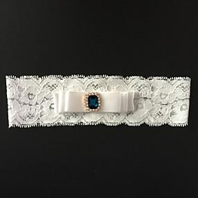 billige Strømpebånd til bryllup-Elastisk sateng Mote Bryllupsklær Med Rhinsten / Blomst Strømpebånd