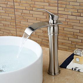povoljno Slavine-Kupaonica Sudoper pipa - Waterfall Nickel Brushed Nadgradni umivaonik Jedan Ručka jedna rupaBath Taps