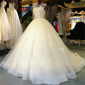 cheap Weddings & Events-Ball Gown Scoop Neck Chapel Train Lace Over Tulle Made-To-Measure Wedding Dresses with Beading / Appliques by LAN TING Express / See-Through / Beautiful Back