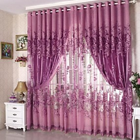 cheap Sheer Curtains-Country Sheer Curtains Shades One Panel Living Room   Curtains / Jacquard