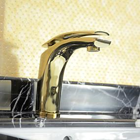 olcso Csapok-Fürdőszoba mosogató csaptelep - Széleskörű Festett felületek Három lyukas Egy fogantyú egy lyukkalBath Taps