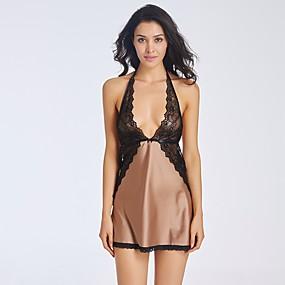 hesapli Babydoll ve Slipler-Sexy Babydoll ve Slipler / Mini ve Abiye / Jartiyerli İç Giyim Yatak kıyafeti Solid Kadın's