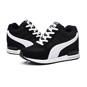 voordelige Damessneakers-Dames Sneakers Sleehak Veters / Combinatie Tule Comfortabel Lente / Herfst Zwart / Blauw