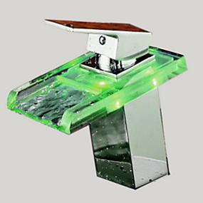 저렴한 크롬 Series-욕실 싱크 수도꼭지 - 워터팔 크롬 주방, 욕조수전(Centerset) 홀 한개 / 싱글 핸들 하나의 구멍Bath Taps / 황동