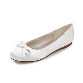 abordables Chaussures Plates pour Femme-printemps / été en satin plat femme talon plat bowknot bleu / champagne / ivoire / mariage / fête& Robe de soirée