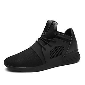 cheap Men's Athletic Shoes-Men's Light Soles Rubber / Tulle Spring / Fall Comfort Sneakers Walking Shoes Slip Resistant Black / Black / White