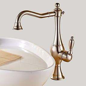 abordables Offres de la Semaine-Robinet lavabo - Rotatif Nickel brossé Vasque Mitigeur un trouBath Taps