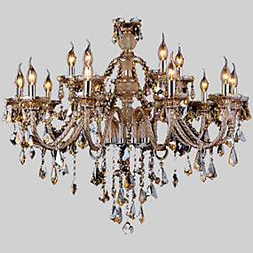 cheap Ceiling Lights & Fans-Candle-style Chandelier Ambient Light Chrome Glass Glass Crystal 110-120V / 220-240V Warm White / Multi Color Bulb Not Included / E12 / E14