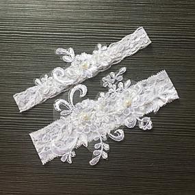 abordables Jarretières de Mariage-Dentelle / Satin Elastique Classique / Mode Jarretière de mariage Avec Imitation Perle / Fleur Jarretières