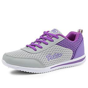 baratos Sapatos Esportivos Femininos-Mulheres Tênis Sem Salto / Plataforma Cadarço Tule Conforto Caminhada Primavera / Verão / Outono Cinzento / Roxo / Azul / EU39