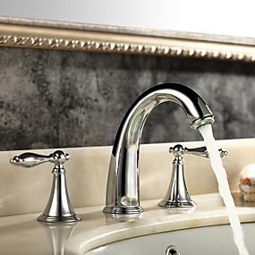 abordables Offres de la Semaine-Robinet lavabo - Séparé Chrome Diffusion large Deux poignées trois trousBath Taps
