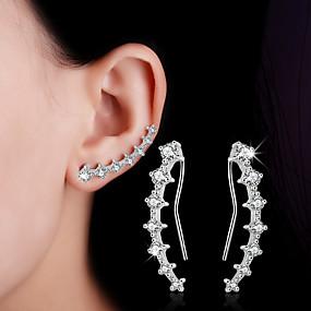 d109ec941 Women's Crystal Synthetic Diamond cuff Stud Earrings Clip on Earring Ear  Climbers Sterling Silver Earrings Leaf Heart Flower Ladies Personalized ...
