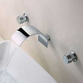 cheap Free Shipping-Bathroom Sink Faucet - Waterfall Chrome Wall Mounted Two Handles Three HolesBath Taps / Brass