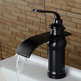 ราคาถูก ของประดับบ้าน-ก๊อกน้ำอ่างล้างจานห้องน้ำ - น้ำตก ทองแดงขัดน้ำมัน กระจาย จับเดี่ยวหนึ่งหลุมBath Taps / Brass